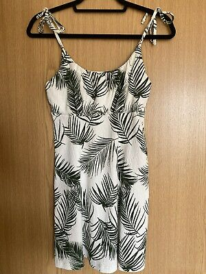 Topshop Slip Cami Mini Summer Dress Tropical White Size 10 Great Condition • 10£