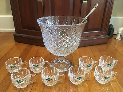 $149 • Buy Shannon By Godinger 24% Lead Crystal Pedestal Punch Bowl Set 8 Cups Plus Ladle