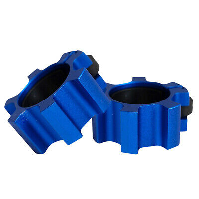 $ CDN26.13 • Buy 2Pcs Premium Solid 2'' Barbell Collars Spin Lock Weightlifting Clamps Clips Blue