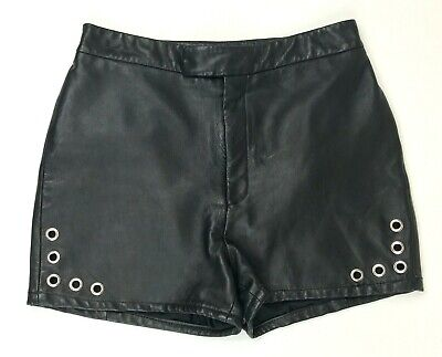 $37 • Buy The Ragged Priest Black Leather Lined Grommet Zip Up Shorts Sz Large