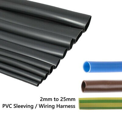 PVC Cable Sleeving / Tubing - Flexible Wiring Harness Black All Sizes & Lengths • 1.30£