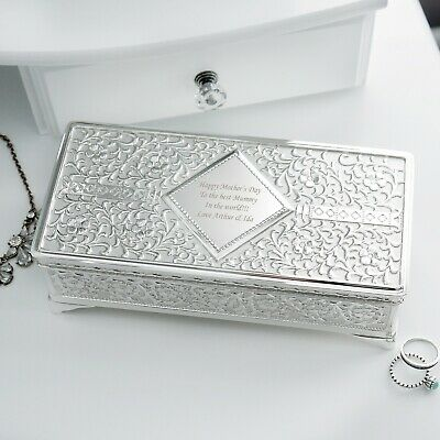 Personalised Silver Plated Antique Jewellery Box FREE Engraving • 24.99£