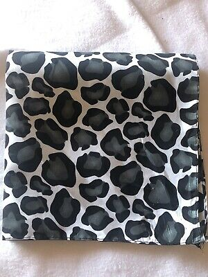 $5.60 • Buy Animal Print Leopard Bandana 20x20 Head Wrap Scarf Neck Nwt Black Gray