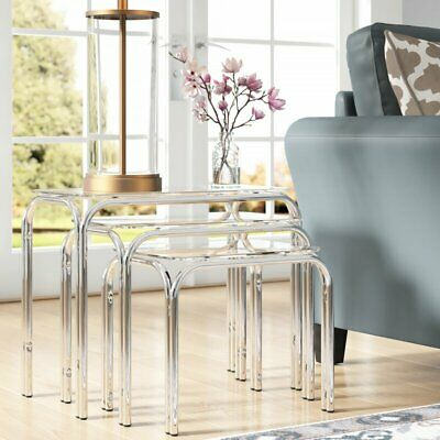 Set Of 3 Lisbon Rectangle Nesting Tables With Clear Glass Chrome Legs- GNT01C • 39.99£