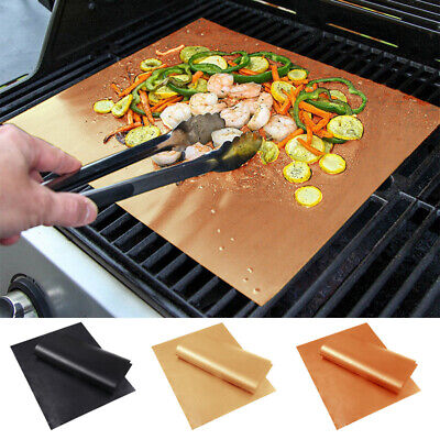 AU18.62 • Buy 2x BBQ Grill Mat Non-stick Oven Liners Teflon Cooking Baking Reusable Sheet Pad