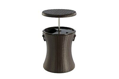 £49.89 • Buy Rattan Style Outdoor Cool Bar Ice Cooler Table Garden Furniture - Brown