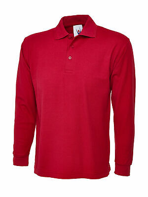 Long Sleeve Polo Shirt Pique Casual Red Top Tee T Shirt Size M,L,XL,XXL New EB90 • 7.99£