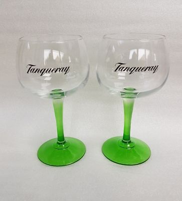 A Pair  Stunning Tanqueray Green Stemmed Gin Balloon Glasses - NEW  • 12.85£