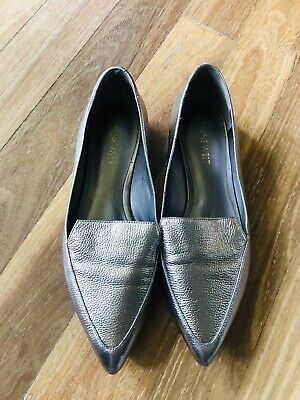 AU39 • Buy NINE WEST LEATHER METALLIC Silver Size 7.5 Flats Loafers OFFICE SHOES WOMANS 37