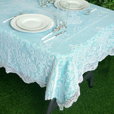 $6.42 • Buy WHITE 54x72 RECTANGLE Floral LACE TABLECLOTH Wedding Party Catering Kitchen SALE