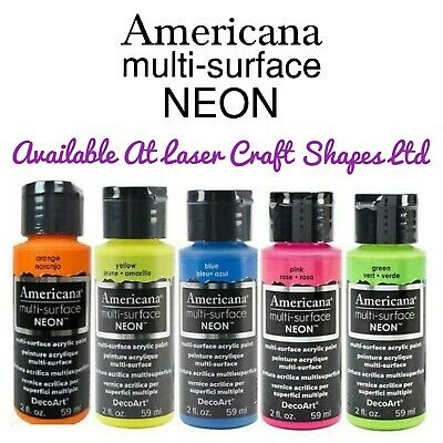 DecoArt Multi-Surface Neon Acrylic Craft Art Paint 2oz Pink Blue Green Etc • 7.49£