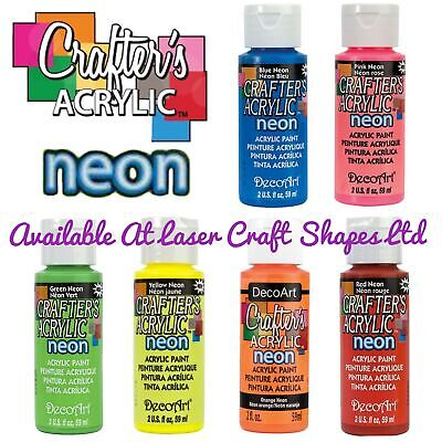 DecoArt Crafters Acrylic Neon Craft Paint 2oz Blue Green Orange Yellow Pink Red • 5.99£