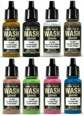 Vallejo Model Washes Paints Choose / Mix 17ml Bottles Different Shades Of Wash • 20£