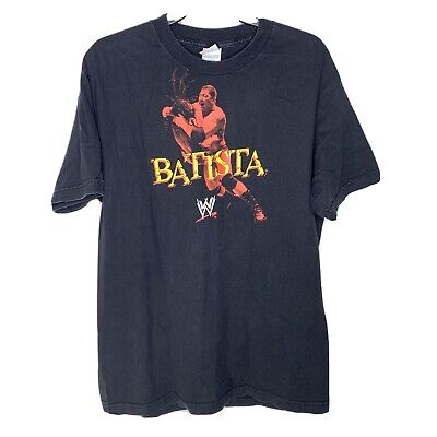 $15.05 • Buy WWE Wrestling BATISTA Shirt Black Tee Double Sided 2007 The Animal Sz L