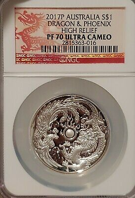 $249.99 • Buy 2017P Australia Dragon & Phoenix 1 Oz Silver NGC PF70 High Relief  Proof