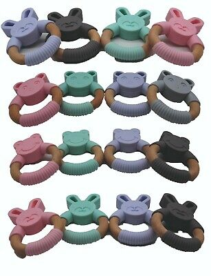 £4.99 • Buy Baby Teether Toy Teething Ring Wood Silicone For Boy Or Girl