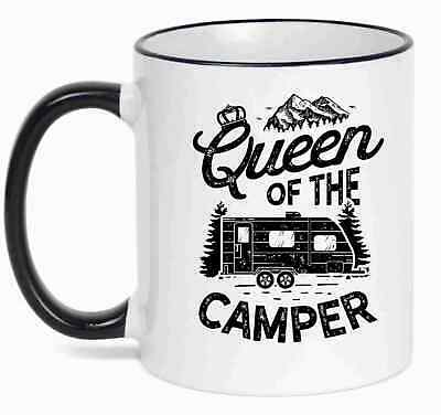 Queen Of The Camper Mug Camping Novelty Caravan Cup Campervan Mum Grandma Gift • 7.79£