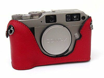 $ CDN88.21 • Buy Red Leather With Red Stitching Half Case For Contax G2 - BRAND NEW