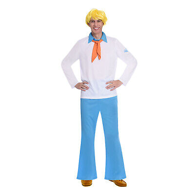 Adults Fred Jones Fancy Dress Costume + Wig Scooby Doo Ladies Mystery Mens • 27.99£
