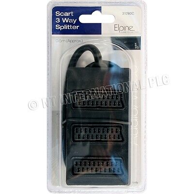 1 To 3 Scart Socket Switch 3way Scart Lead Splitter 3 Devices Out To 1 Tv Input • 3.95£