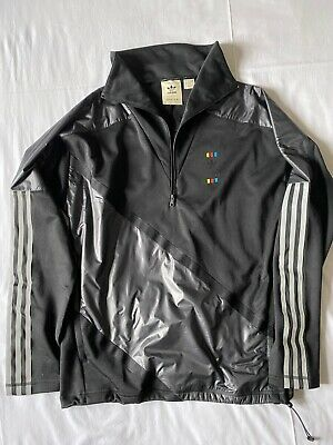 Adidas Oyster Shiny Nylon Wet Look Track Top Zipped Small Tracksuit Pullover • 40£