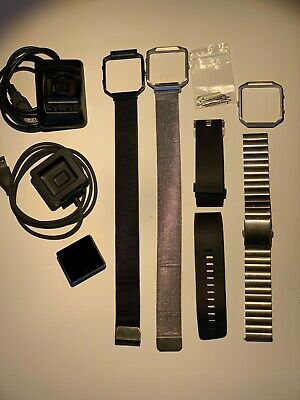 $ CDN110.36 • Buy Fitbit Blaze Fitness Watch, Large - Black 4 Bands 3 Bezels 2 Chargers LOOK!!!!