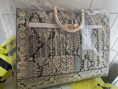 River Island Beige Snake Print Studded Cut Out Tote Bag • 44.95£