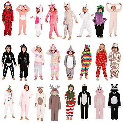 Girls Boys Animal Fleece All In One Kids Outfit Childrens Costume Age 4-14 Years • 14.95£