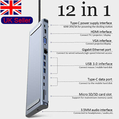 12 In1 Type C Hub Docking Station To USB 3.0 HDMI Adapter For Macbook ASUS DELL • 39.99£