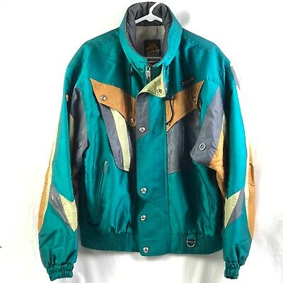 $43.01 • Buy Vintage Descente Ski Jacket Mens Medium Teal Green Full Zip Hood Geometric