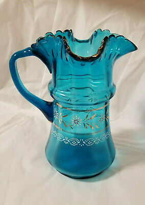 $39.99 • Buy Antique Hand-Blown Blue Glass Hand-Painted Pitcher Side Pour 9 1/2
