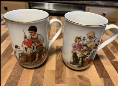 $ CDN11.03 • Buy Lot Of 2 Norman Rockwell Museum Porcelain Coffee Tea Cups / Mugs 1982 Pictured