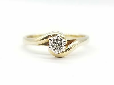 AU145 • Buy 9ct YELLOW GOLD & DIAMOND SOLITAIRE RING TW 2.45g