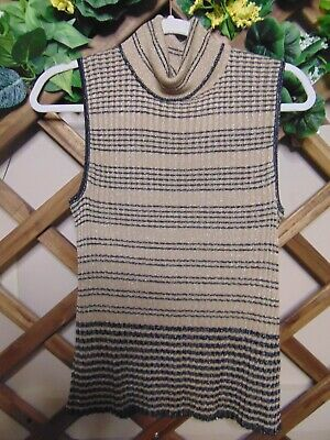 $4 • Buy Cable & Gauge NWT Sleeveless Taupe/Black With Metallic Threads Turtleneck (XL)