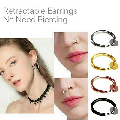 AU7.99 • Buy 2/4 Pairs Clip ON Retractable Earrings Round Hoop Non Piercing Dangle Huggies