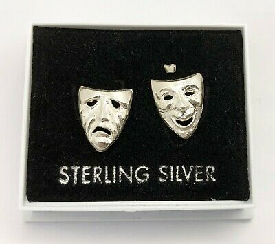 £4.99 • Buy Comedy & Tragedy Theatre Masks: Sterling Silver Stud Earrings (hallmarked 925)
