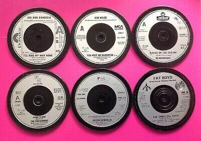 Six Hand Crafted Original Vinyl Record Drinks Coasters Memories From  The 1980s • 9.99£
