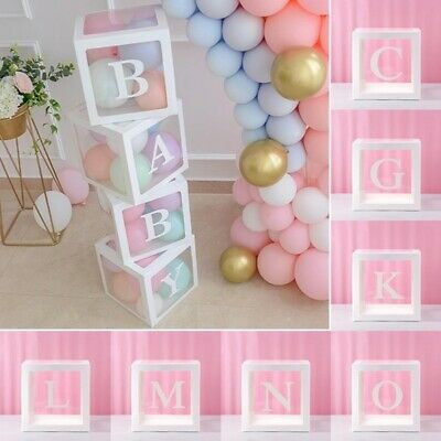 A-Z White Letter Transparent Boxes Packing Wedding Baby Shower Party Decoration • 14.99£