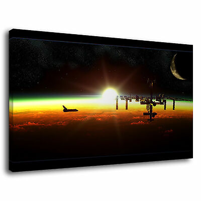 Nasa Space Shuttle Alongside Iss Earth Rainbow Canvas Wall Art Picture Print • 36.99£