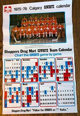 $1.63 • Buy POSTER: 1975-76 CALGARY COWBOYS WHA PICTURE AND CALENDAR, 1st YEAR, 24  X 36