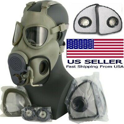$39.99 • Buy Full Face New Military M10 NBC Gas Mask Respirator W/ EXTRA Set X2 FILTERS FREE