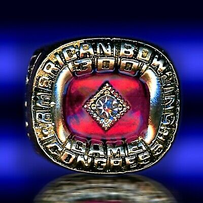 $42 • Buy 300 Perfect Game American Bowling Congress Abc 24k Gold Plated  Size 12 Ring