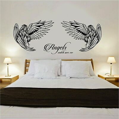£11.99 • Buy Angel Wall Art Sticker With  Angels Watch Over Me  Quote Bedroom Lounge Wall Art