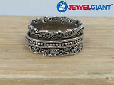 $10.49 • Buy PZ SIGNED STERLING SILVER 925 SPINNER RING SZ 11.75 INTRICATE BAND DESIGN #bj464