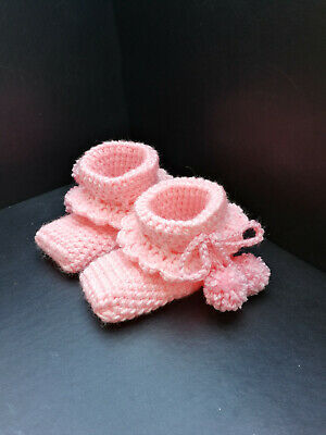 Crochet Knitted Baby Bootees Boots Booties Shoes 0 - 9 Months UK Handmade • 4.99£