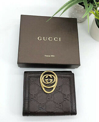 $205.15 • Buy Gucci Authentic Vintage GG Logo Leather Gold Clasp Bifold Wallet Brown W/ Box