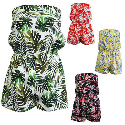 Ladies Playsuit Jumpsuit Leaf Shorts Bandeau Elasticated Summer New Womens • 9.95£