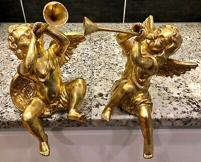 $29.99 • Buy 2 Vtg Gold Gilt Cherub Angels Blowing Trumpets Approx.13  X 8.5  Seated Sitting