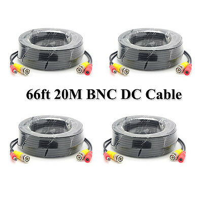 AU37.90 • Buy 4Pcs 20m BNC Video DC Power Supply Extension Cable For CCTV Security Camera DVR