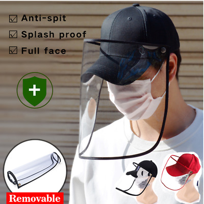 New Baseball Cap With Safety Protective Clear Shield Saliva-proof Sun Visor Hat • 8.76£